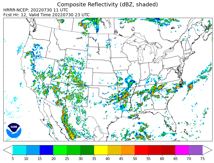 HRRR Composite Reflectivity image